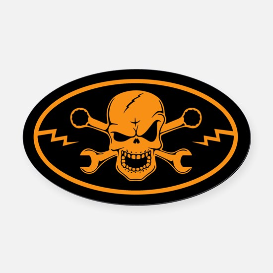 Skull & Wrenches Oval Car Magnet