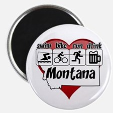 Montana Swim Bike Run Drink Magnet