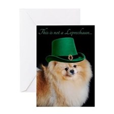 Funny Leprechaun Pomeranian Greeting Cards
