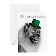 Funny Leprechaun Keeshond Greeting Cards