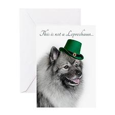 Funny Leprechaun Keeshond Greeting Cards