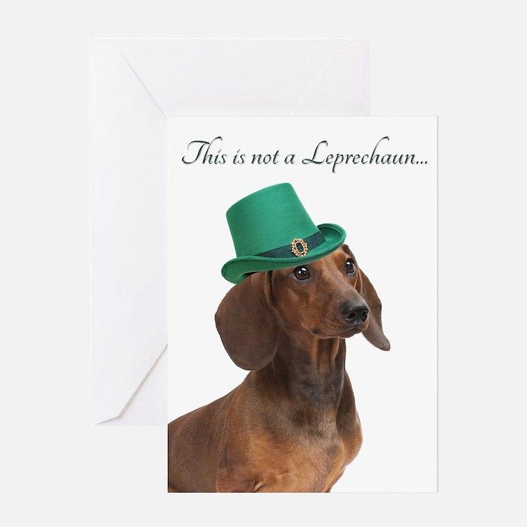 Funny Leprechaun Dachshund Greeting Cards