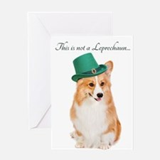 Funny Leprechaun Corgi Greeting Cards