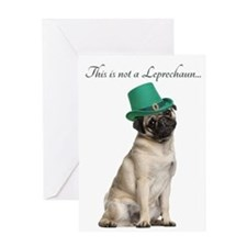 Funny Leprechaun Pug Greeting Cards