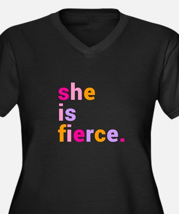 She if Fierc Women's Plus Size V-Neck Dark T-Shirt