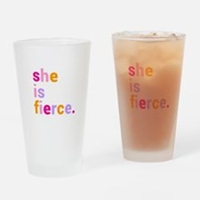 She if Fierce Colors Drinking Glass