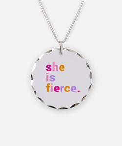 She if Fierce Colors Necklace Circle Charm