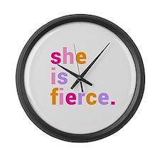She if Fierce Colors Large Wall Clock
