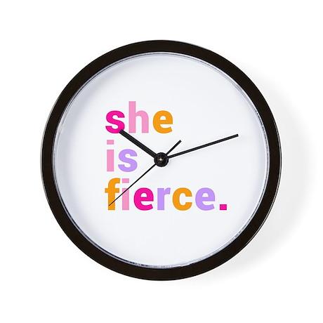 She if Fierce Colors Wall Clock