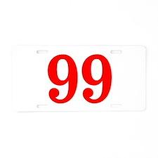 RED #99 Aluminum License Plate