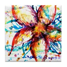 Vibrant Flower Tile Coaster