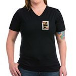 Queen Griffon Women's V-Neck Dark T-Shirt