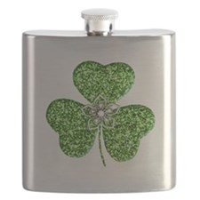 Glitter Shamrock With A Flower Flask