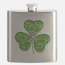 Glitter Shamrock With A Flower Flask
