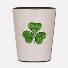Glitter Shamrock With A Flower Shot Glass