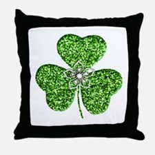 Glitter Shamrock With A Flower Throw Pillow