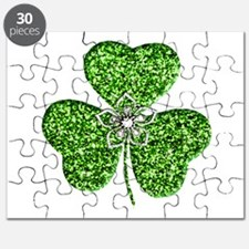 Glitter Shamrock With A Flower Puzzle