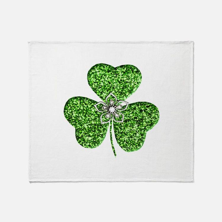 Glitter Shamrock With A Flower Throw Blanket