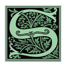 Green Fleur2 Monogram S Tile Coaster