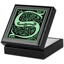 Green Fleur2 Monogram S Keepsake Box