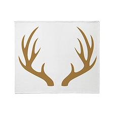 Brown 12 Point Deer Antlers Throw Blanket