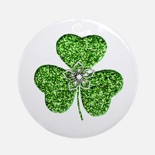 Glitter Shamrock With A Flower Ornament (Round)