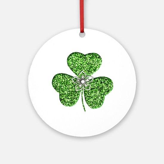 Glitter Shamrock With A Flower Ornament (Round)