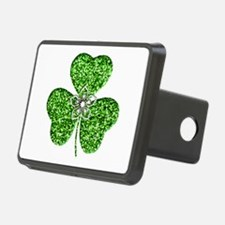 Glitter Shamrock With A Flower Hitch Cover