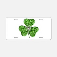 Glitter Shamrock With A Flower Aluminum License Pl