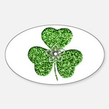 Glitter Shamrock With A Flower Decal