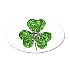 Glitter Shamrock With A Flower Wall Decal