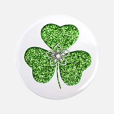 "Glitter Shamrock With A Flower 3.5"" Button"