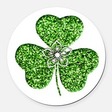 Glitter Shamrock With A Flower Round Car Magnet