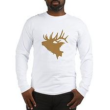 Brown Elk Head Long Sleeve T-Shirt