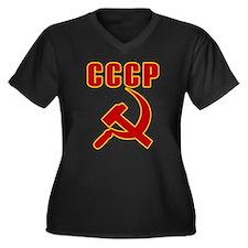 CCCP Soviet Union Women's Plus Size V-Neck Dark T-