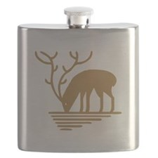 Brown Big Antlers Deer Flask