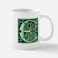 Green Fleur2 Monogram E Mug