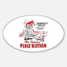 Pixie Kitchen Fish in Wheelbarrow Sticker (Oval)