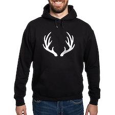White 12 Point Deer Antlers Hoody