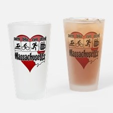 Massachusetts Swim Bike Run Drink Drinking Glass