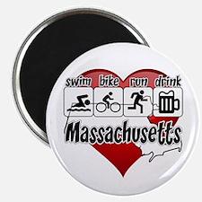 Massachusetts Swim Bike Run Drink Magnet