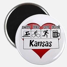 Kansas Swim Bike Run Drink Magnet