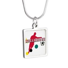 Mozambique Football Player Silver Square Necklace