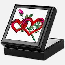 Two Hearts and Pink Rose Keepsake Box