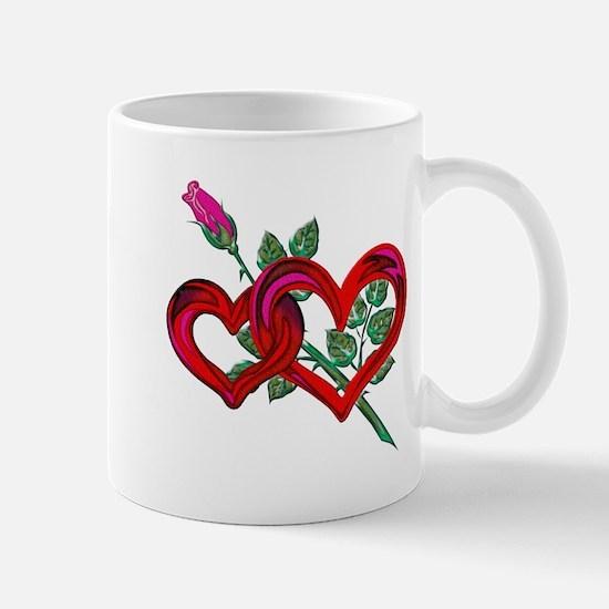 Two Hearts and Pink Rose Mug
