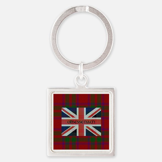Obsessenach - Red Plaid border Square Keychain