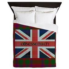 Obsessenach - Red Plaid border Queen Duvet