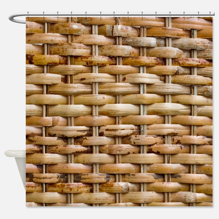 Woven Wicker Basket Shower Curtain