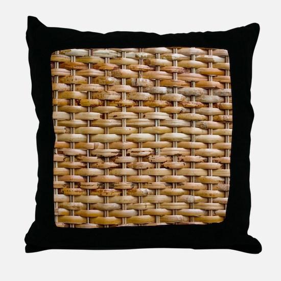 Woven Wicker Basket Throw Pillow