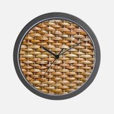Woven Wicker Basket Wall Clock